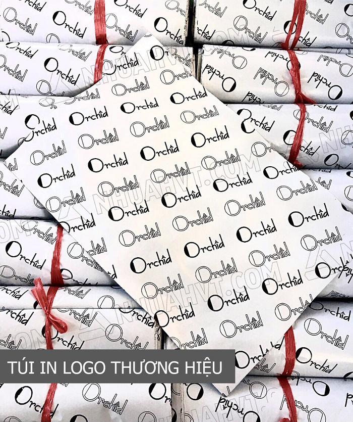 Túi gói hàng niêm phong trắng in logo thương hiệu