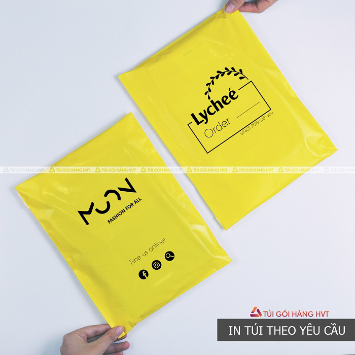 Túi gói hàng niêm phong màu vàng in logo thương hiệu theo yêu cầu