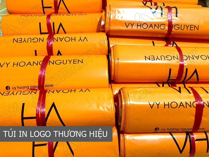 túi đóng hàng cod màu cam in logo thương hiệu