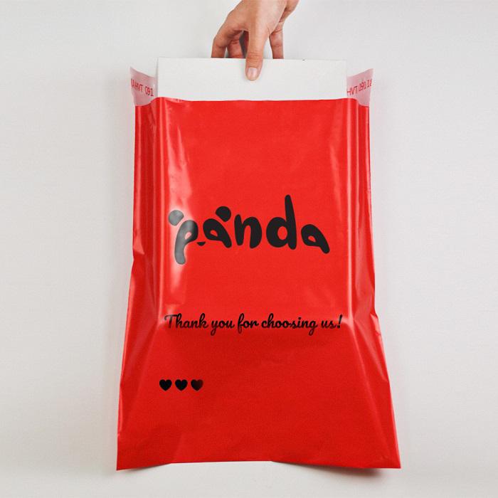 Túi niêm phong màu đỏ size 25*35 in logo thương hiệu riêng