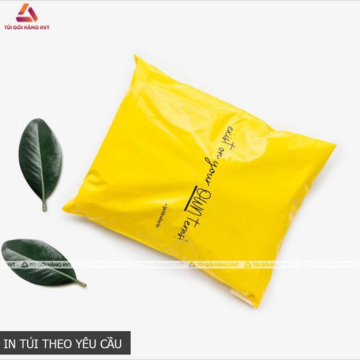 Túi niêm phong đóng hàng màu vàng in logo riêng