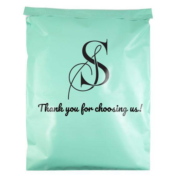 túi gói hàng màu xanh bạc hà in logo thương hiệu