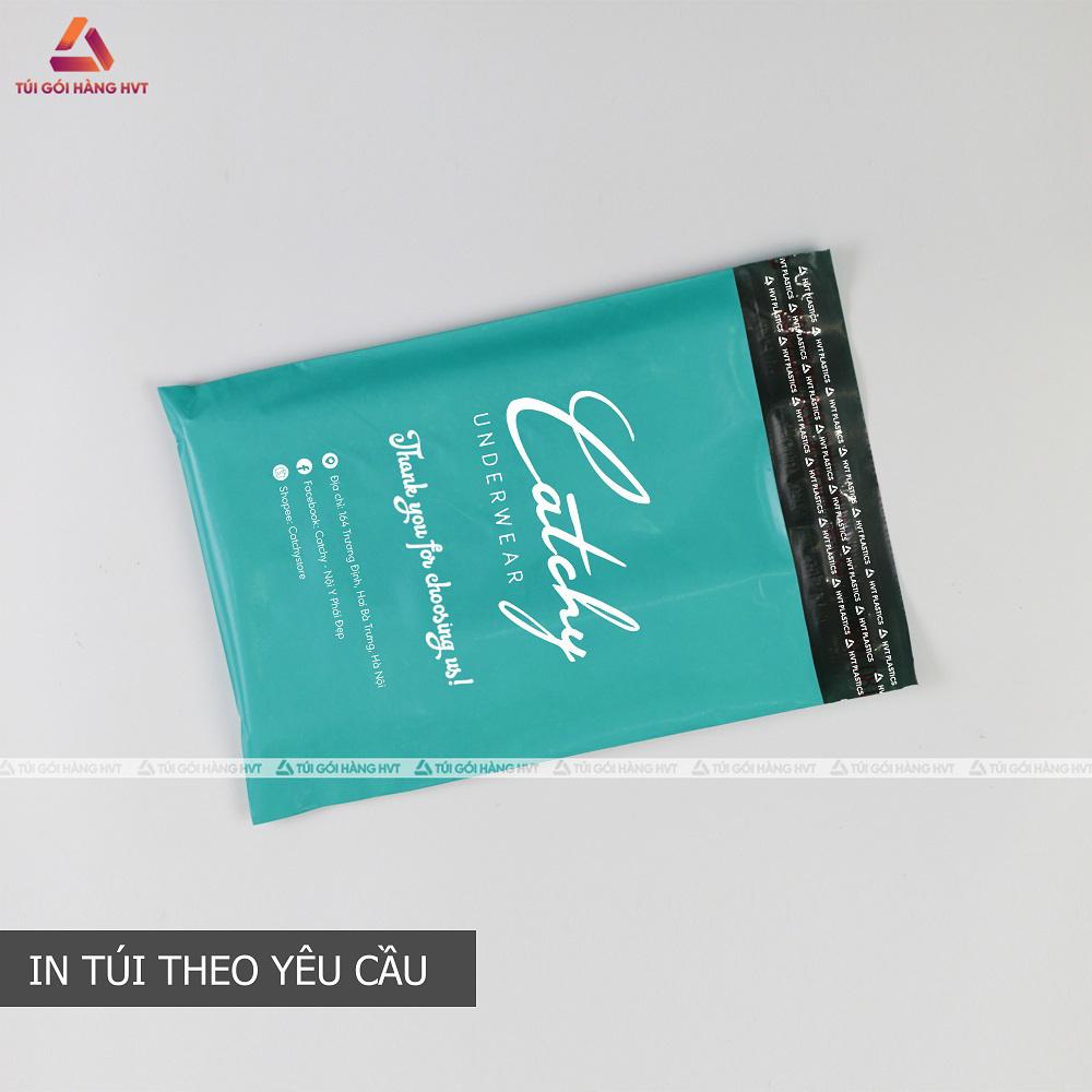túi gói hàng màu xanh in logo thương hiệu