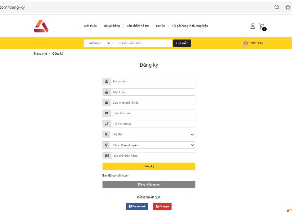 Bảng điền thông tin cá nhân của khách hàng để đăng nhập vào website