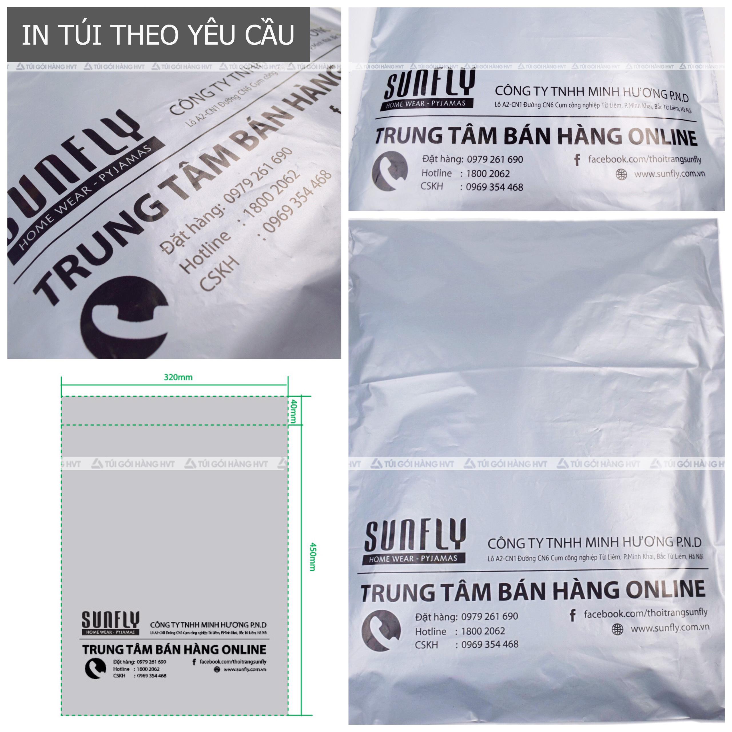Túi gói hàng in logo thương hiệu màu bạc mực đen