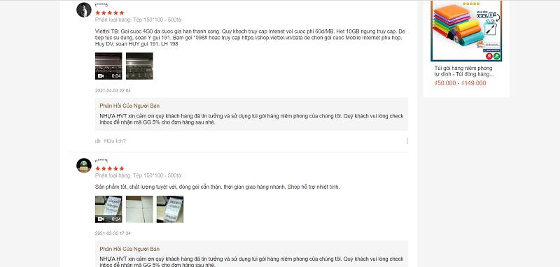 trả lời bình luận của khách hàng trên shopee