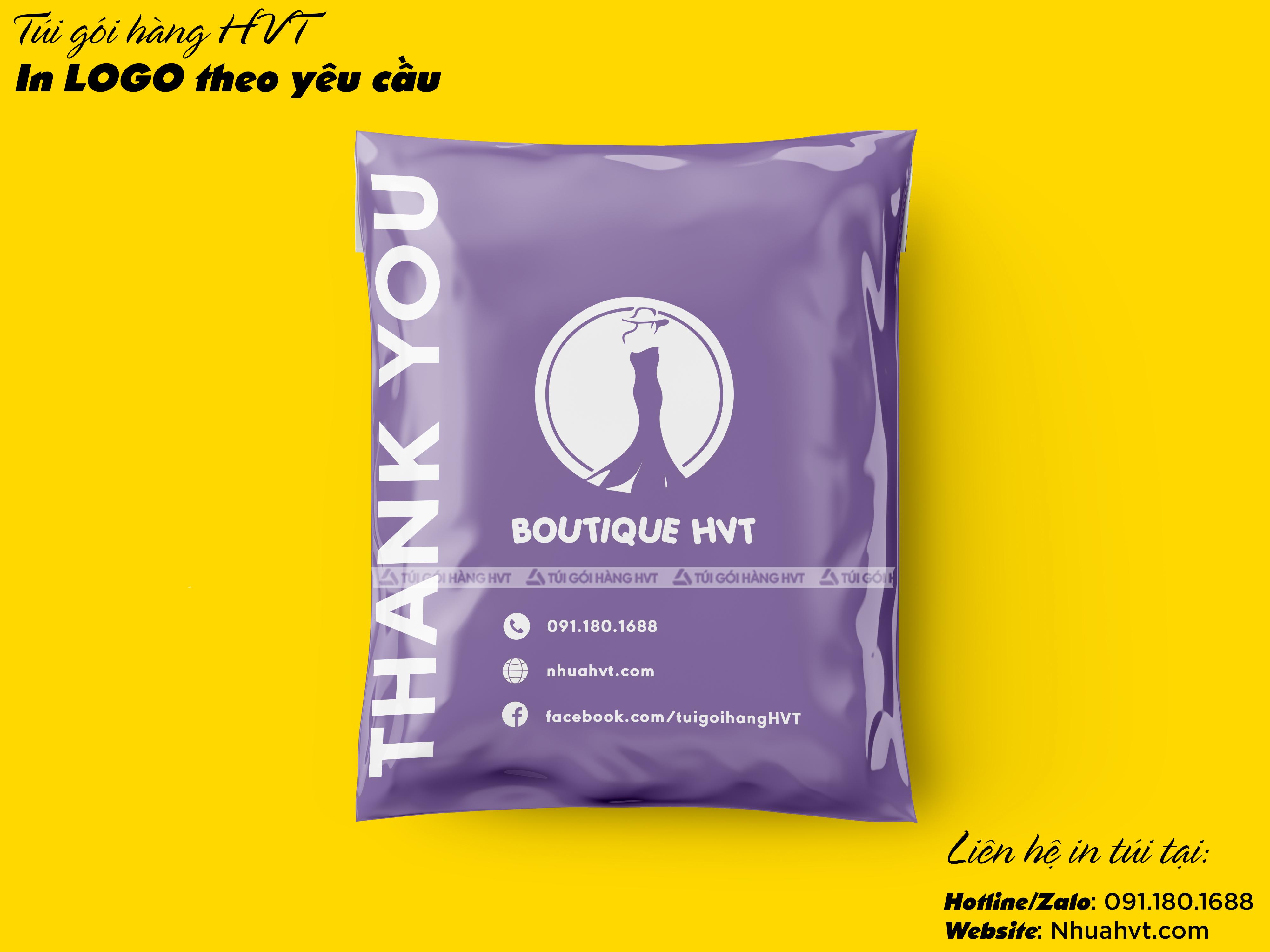 In logo thương hiệu lên túi gói hàng màu tím size 17*30