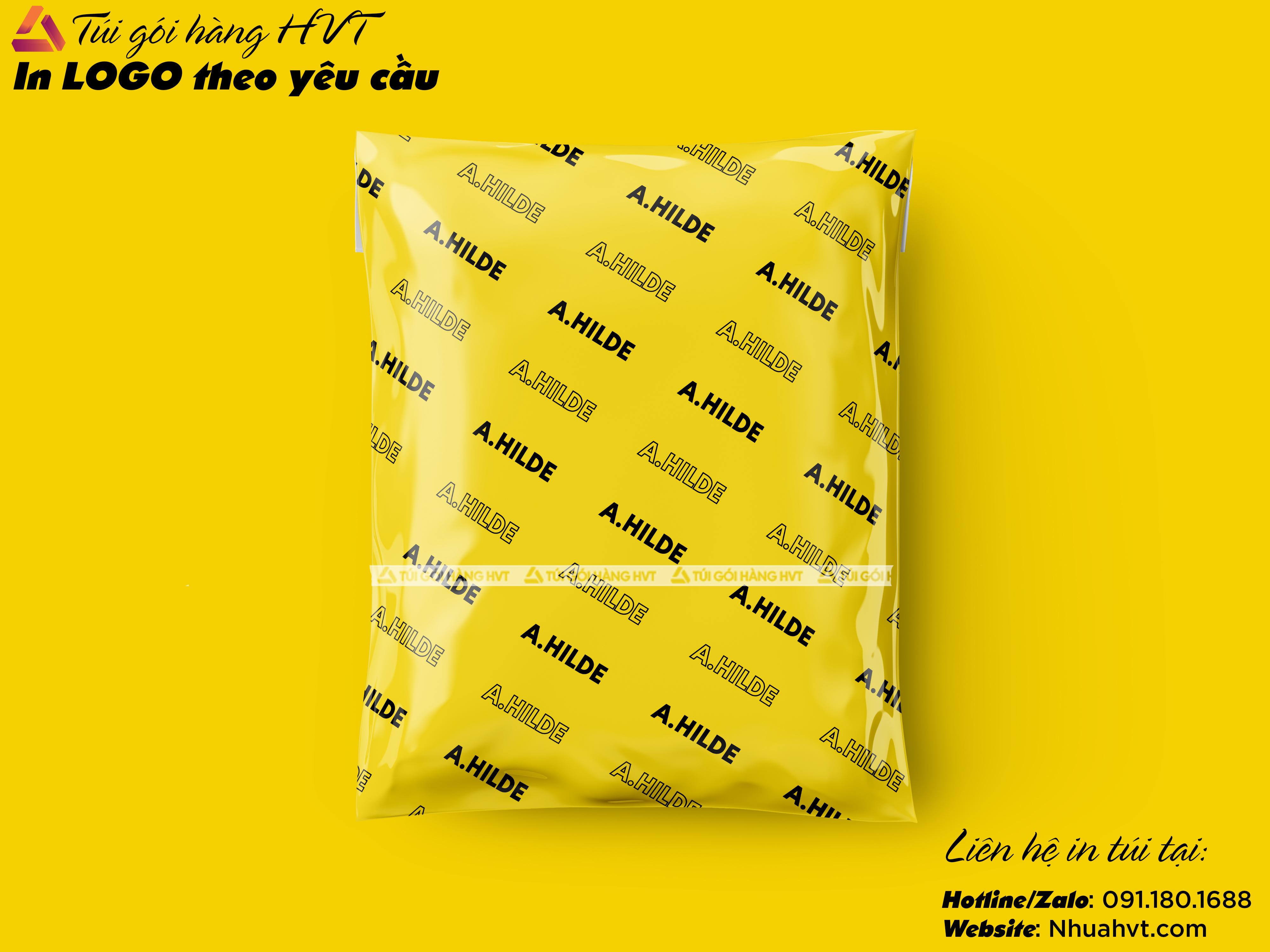 Túi gói hàng màu vàng size 45*60 in logo thương hiệu