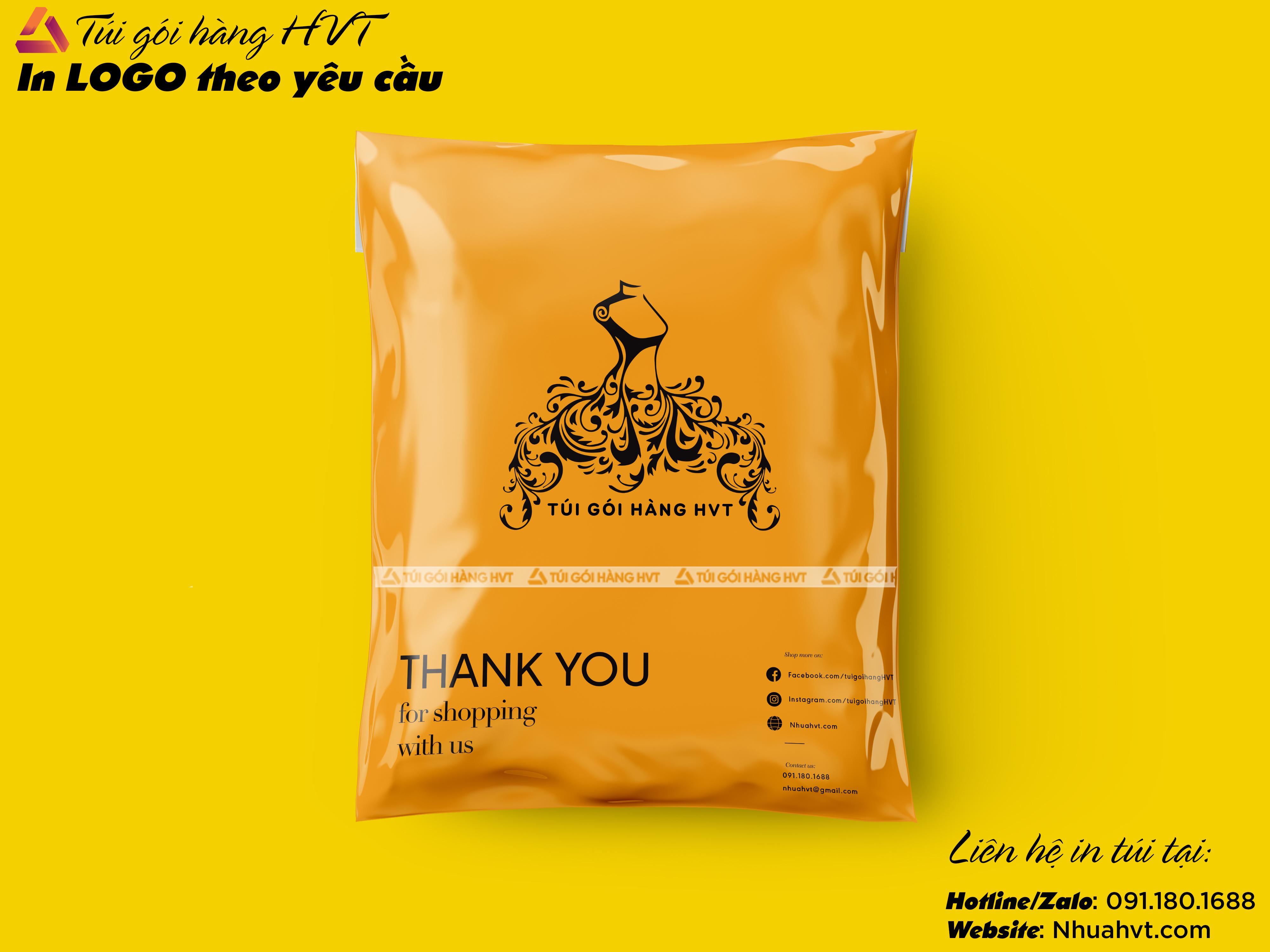 in logo thương hiệu riêng lên túi niêm phong cod màu cam
