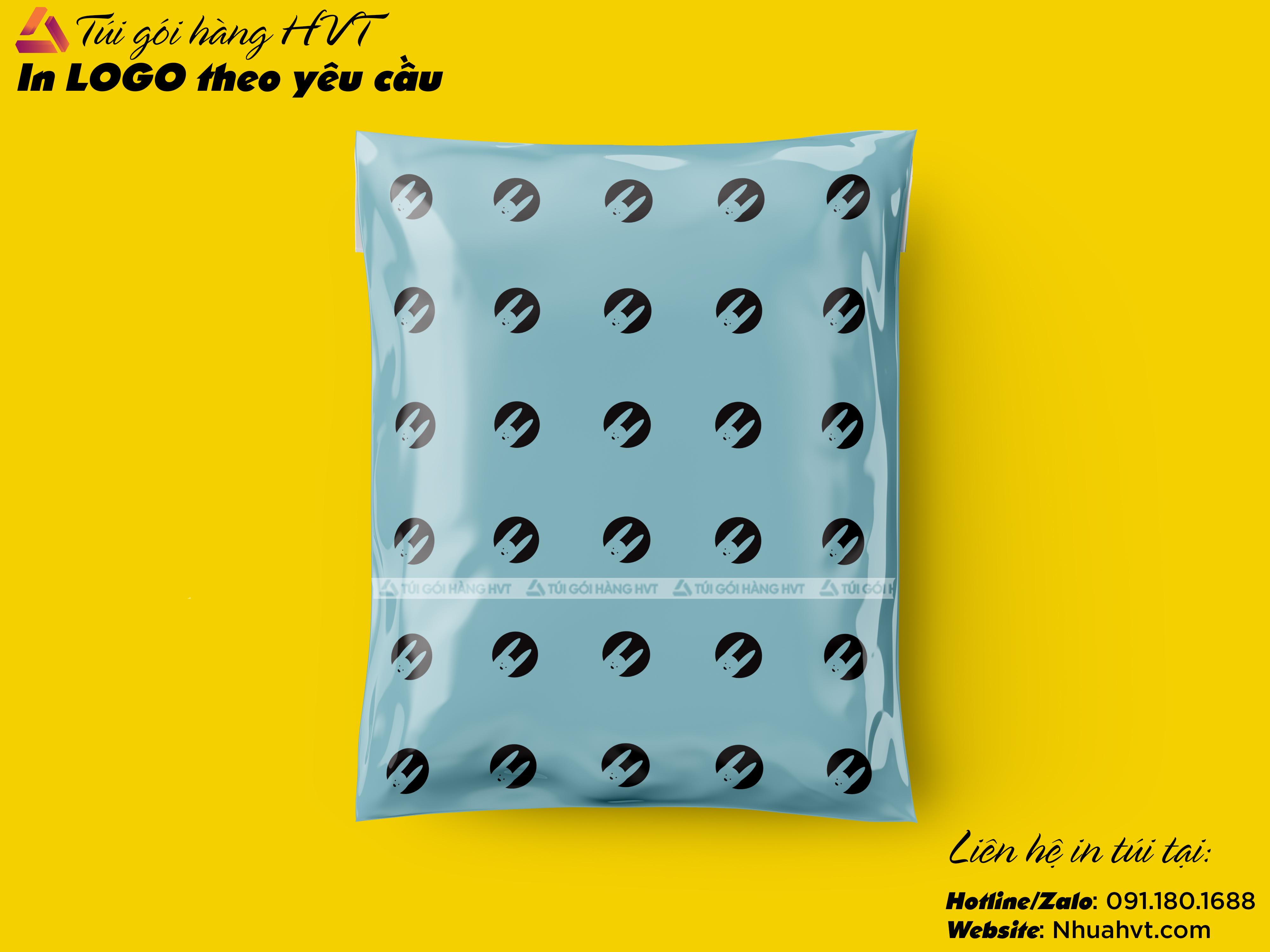 In túi logo thương hiệu màu xanh cùng HVT