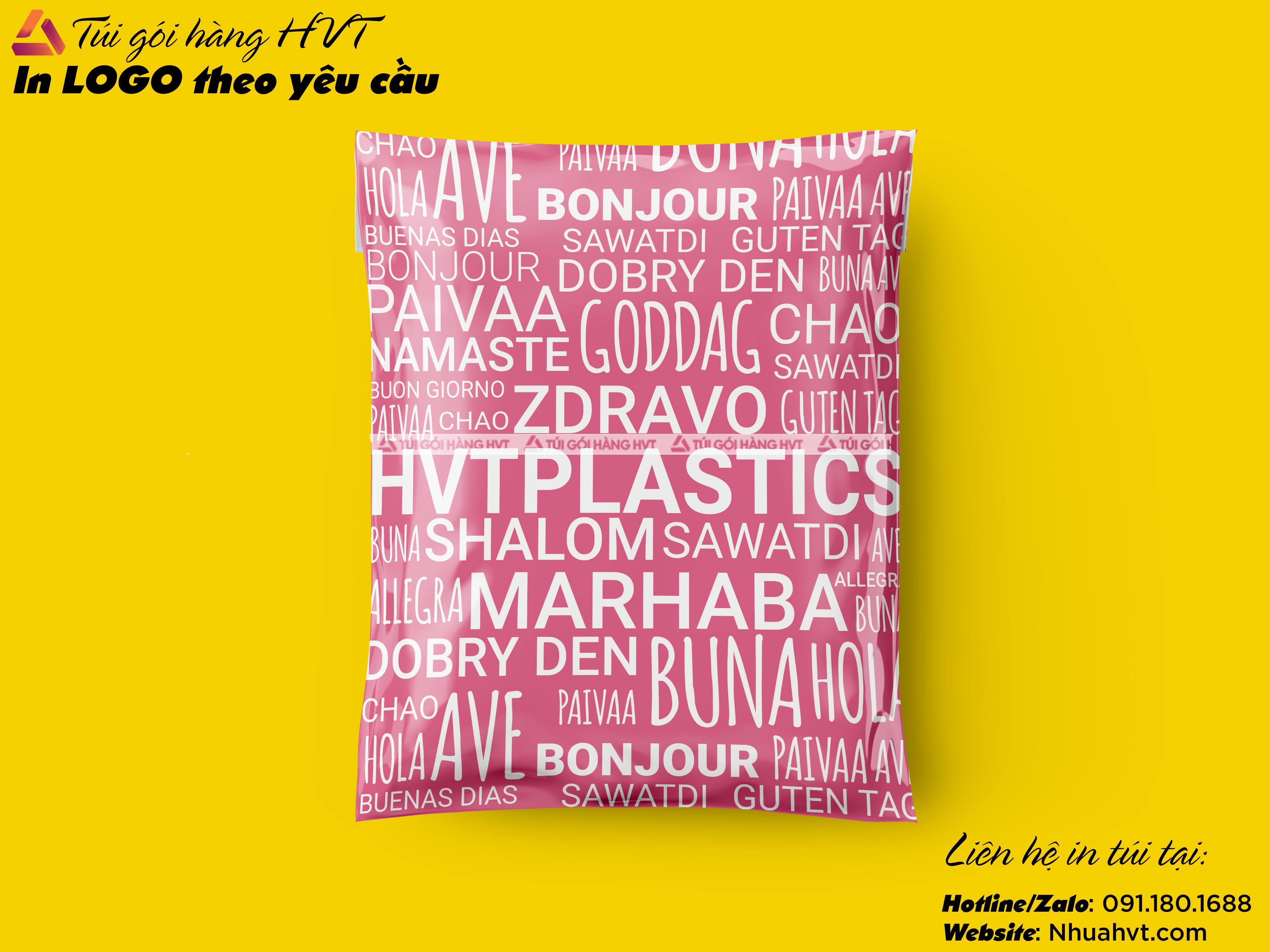 Túi gói hàng niêm phong màu hồng size 17*30 in logo thương hiệu