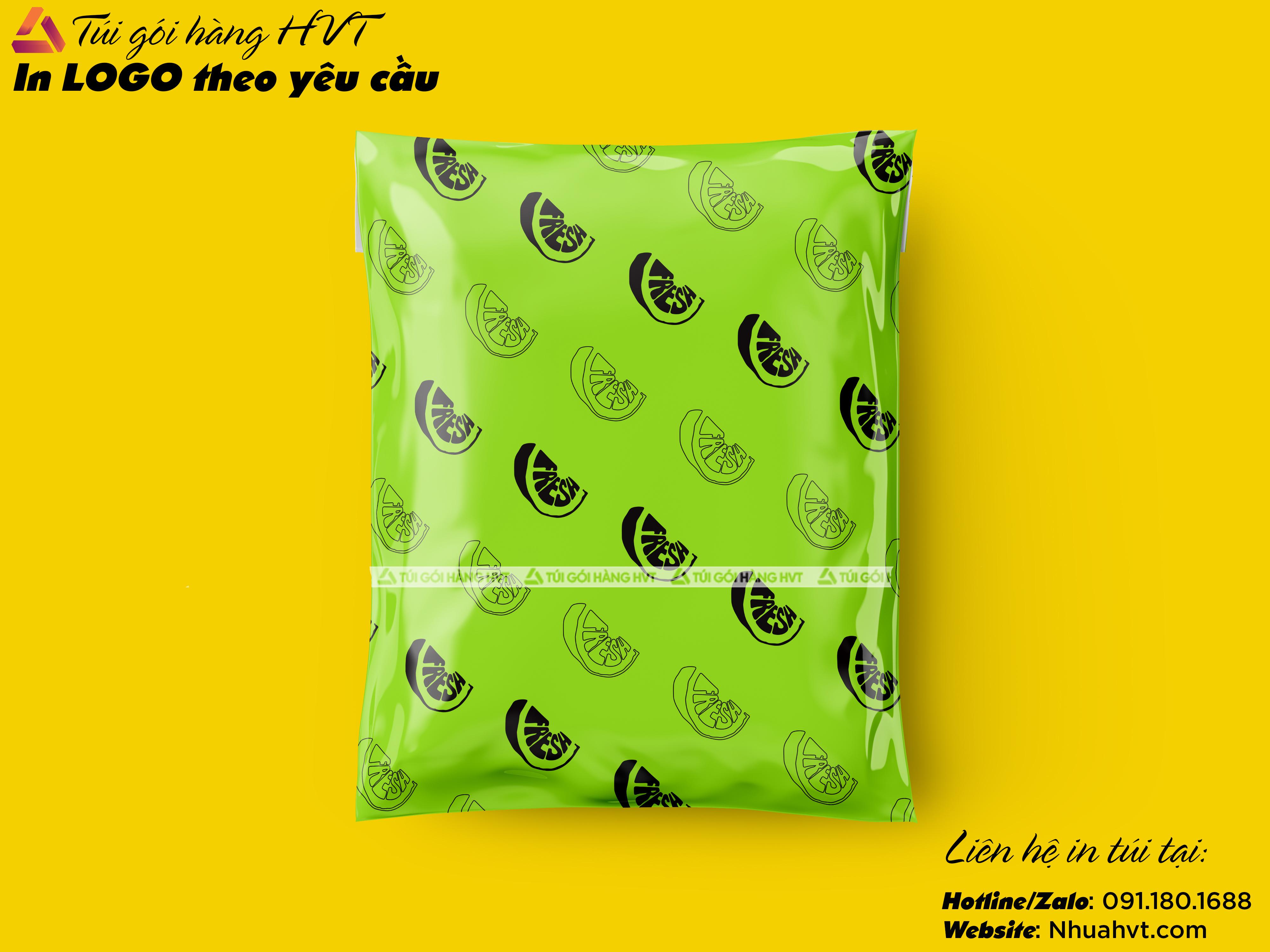 Túi đóng hàng COD màu xanh neon size 32*45 in logo