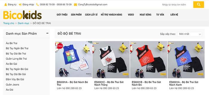 website bán hàng quần áo trẻ