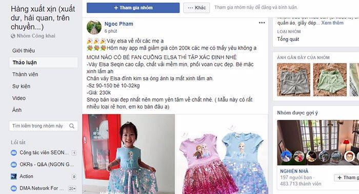 bán quần áo trẻ trong group
