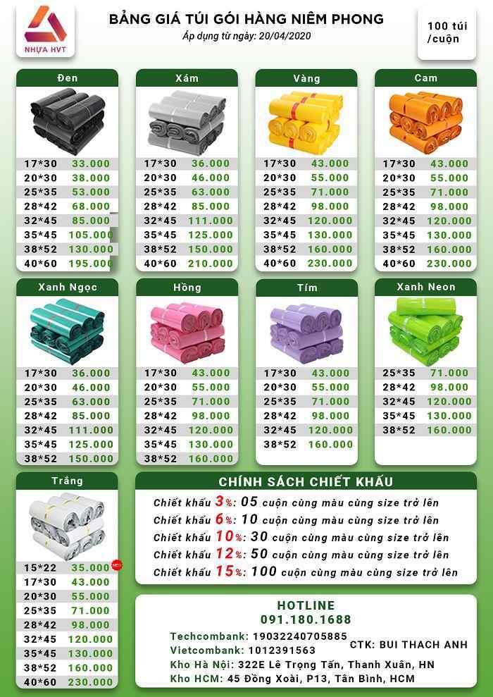 Bảng giá bán túi đóng hàng