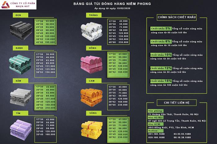 Bảng giá bán lẻ chi tiết cho các loại túi gói hàng niêm phong
