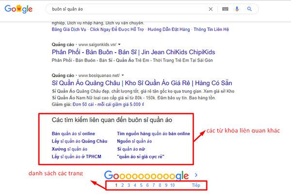 kết quả mở rộng khi tìm quần áo trên google