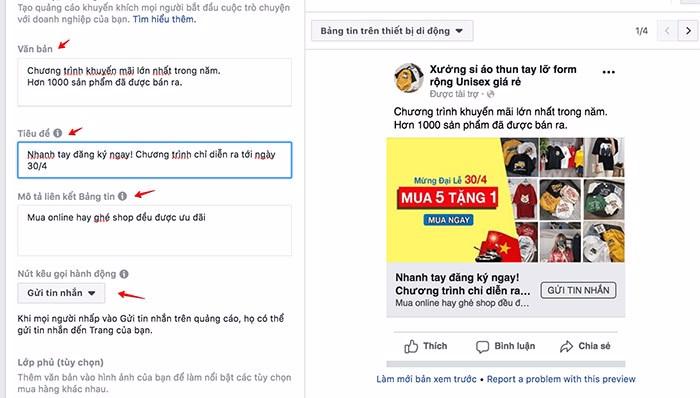 bán quần áo online bằng chạy quảng cáo