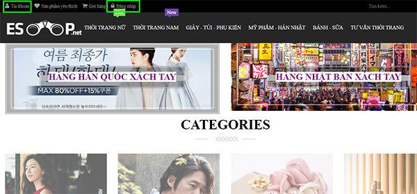 mục đăng nhập trên website