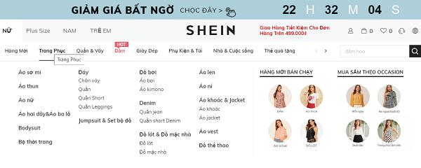 Giao diện website bán quần áo
