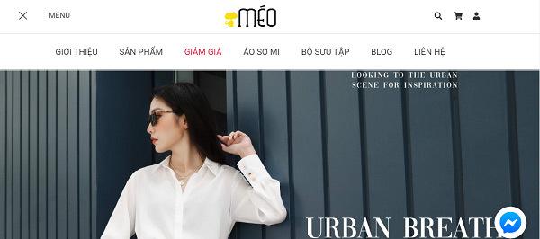 trang chủ website bán quần áo