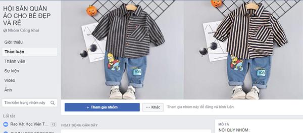 nhóm facebook bán quần áo bé