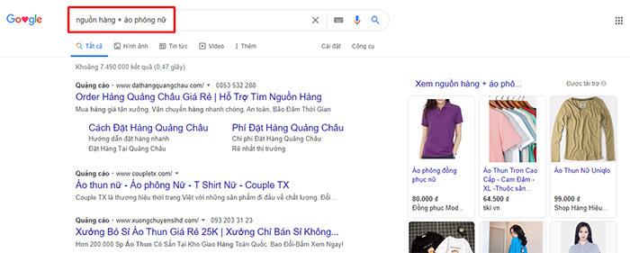 tìm nguồn hàng trên google