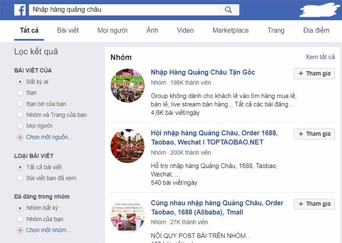 tìm nguồn hàng trên facebook