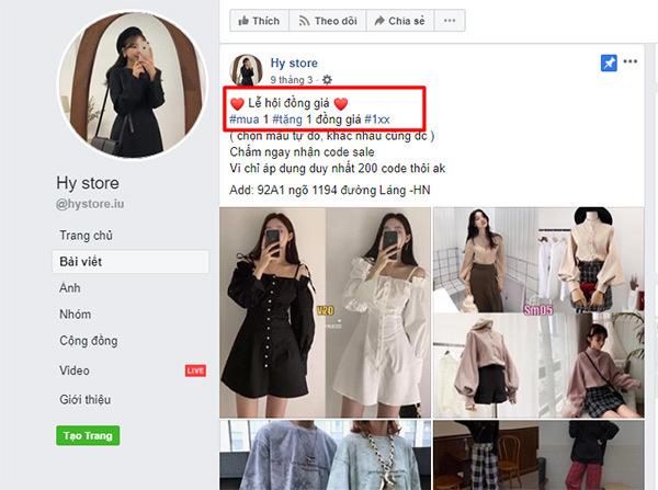 bài bán quần áo tặng kèm quà