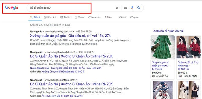 tìm hiểu thông tin nhập hàng trên google