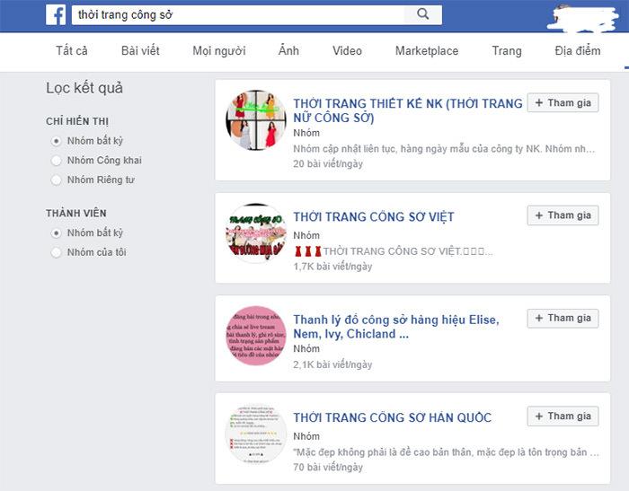 tìm nguồn hàng qua facebook