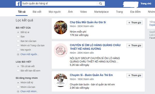 kết quả tìm trên facebook