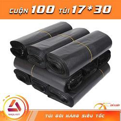 Túi gói hàng đen 17x30cm có 9 cuộn