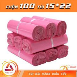 Túi gói hàng màu hồng 15x22 cm 9 cuộn
