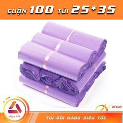 Túi gói hàng màu tím 25x35 cm 9 cuộn
