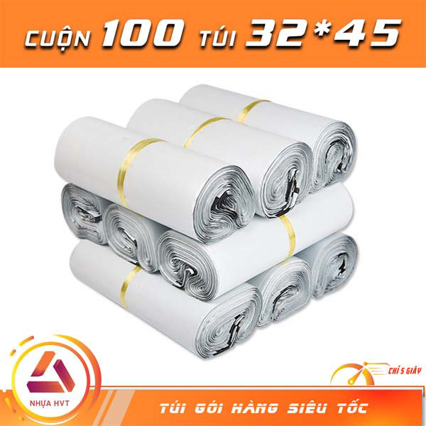 Túi gói hàng trắng được đóng gói 100 túi mỗi cuộn