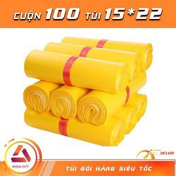 Túi gói hàng màu vàng 15x22 cm  9 cuộn
