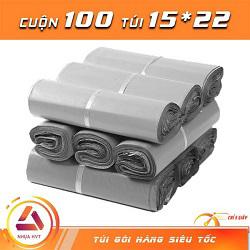 Túi gói hàng màu xám 15x22 cm 9 cuộn