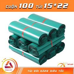 Túi gói hàng màu xanh 15x22 cm 9 cuộn