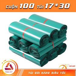 Túi gói hàng màu xanh 17x30 cm 9 cuộn