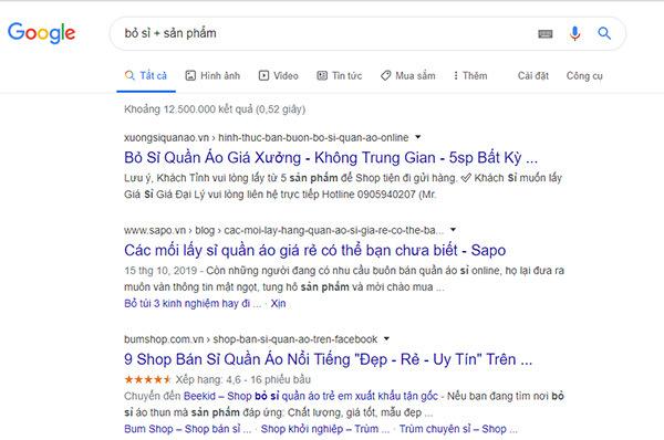 search để tìm nguồn hàng
