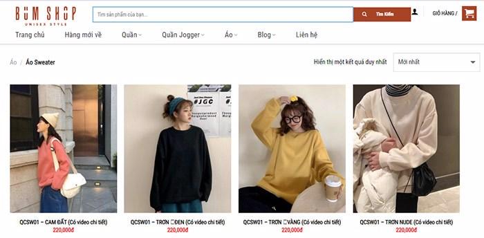 website bán quần áo