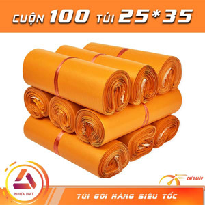 Túi gói hàng niêm phong - Cam - Size 25*35