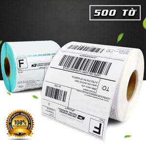 Cuộn giấy in nhiệt tự dính khổ 100*100 (500 tờ)